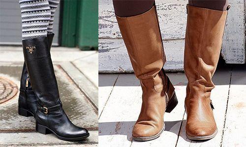 Стильные кожаные женские сапоги
