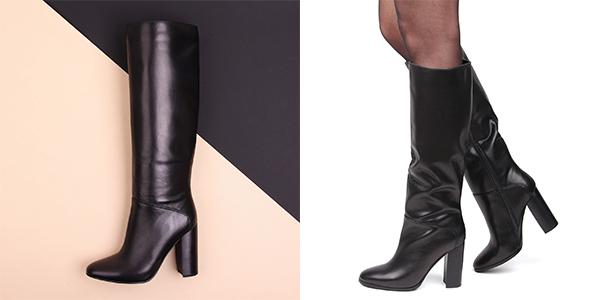 высокие женские зимние кожаные сапоги на каблуке классика
