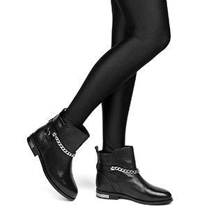 Стильные черные зимние женские ботинки