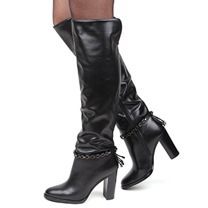 женские кожаные зимние сапоги ботфорты