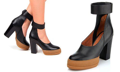 Кожаные женские туфли на каблуке