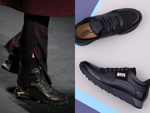 стильные кожаные мужские кроссовки
