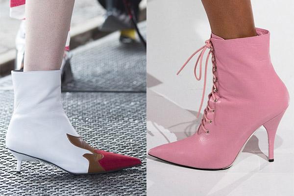 ботинки на шпильке с острым носком
