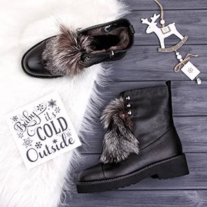 зимние женские ботинки с опушкой