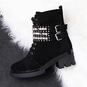 замшевые зимние женские ботинки